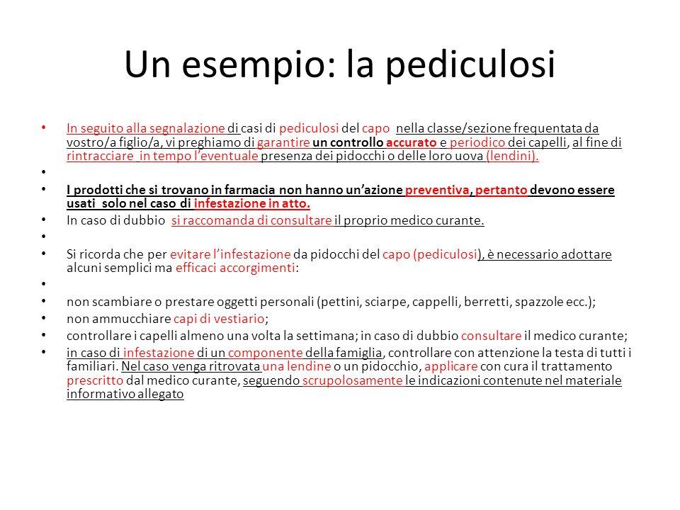Un esempio: la pediculosi In seguito alla segnalazione di casi di pediculosi del capo nella classe/sezione frequentata da vostro/a figlio/a, vi preghi