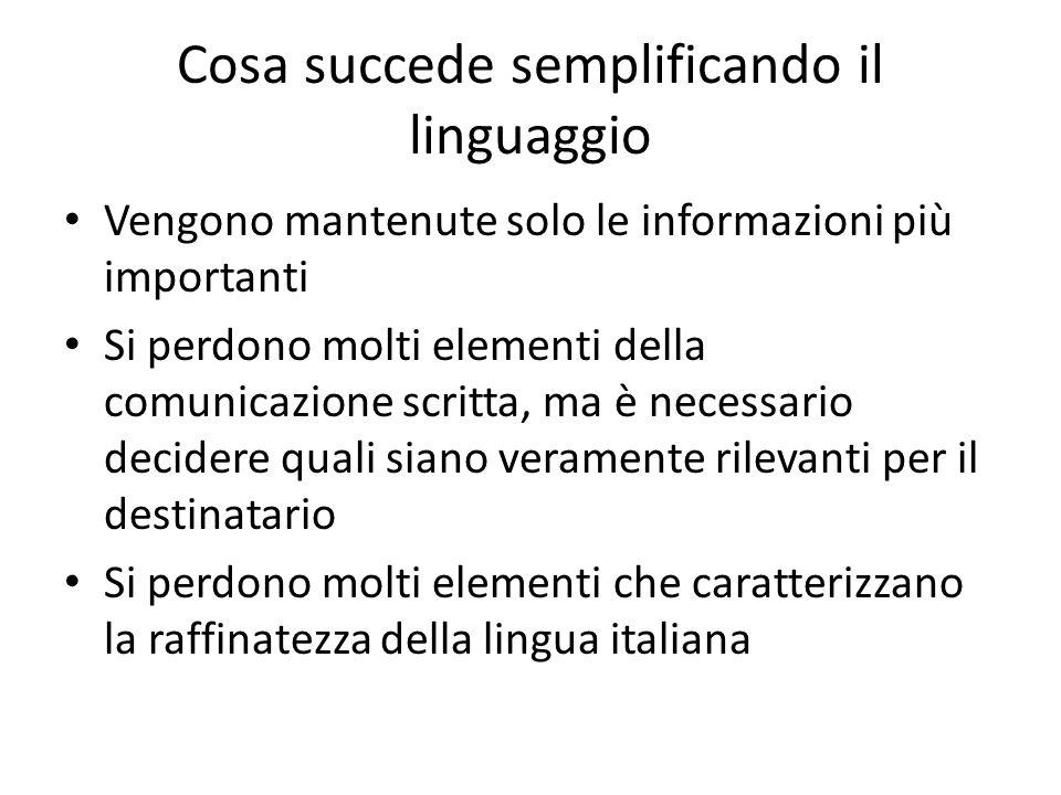 Cosa succede semplificando il linguaggio Vengono mantenute solo le informazioni più importanti Si perdono molti elementi della comunicazione scritta,