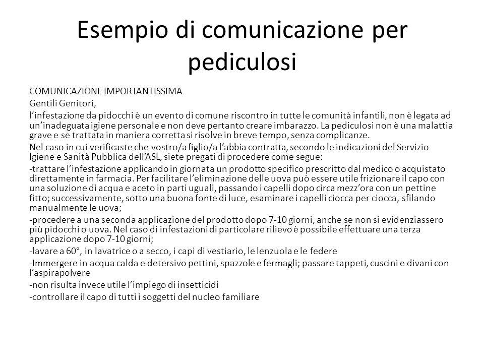 Esempio di comunicazione per pediculosi COMUNICAZIONE IMPORTANTISSIMA Gentili Genitori, l'infestazione da pidocchi è un evento di comune riscontro in