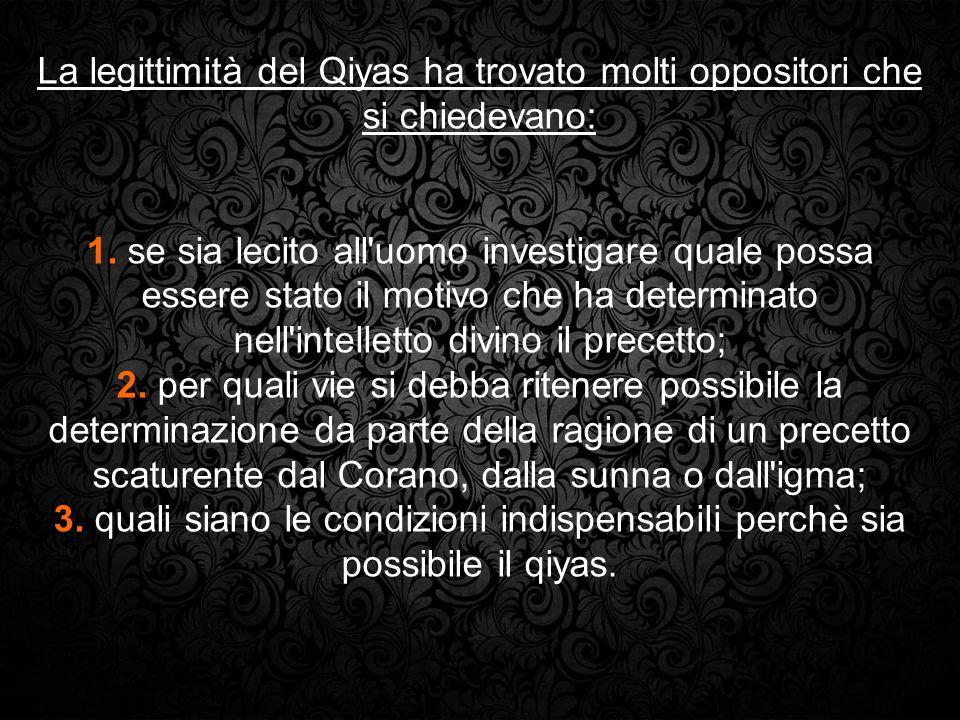 La legittimità del Qiyas ha trovato molti oppositori che si chiedevano: 1. se sia lecito all'uomo investigare quale possa essere stato il motivo che h