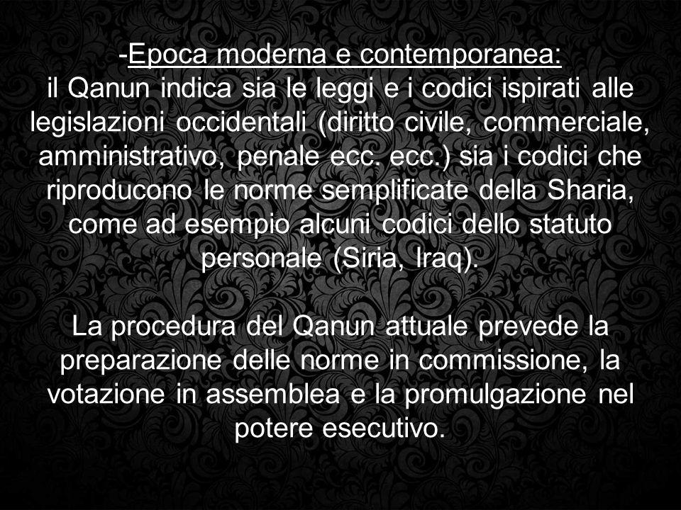 -Epoca moderna e contemporanea: il Qanun indica sia le leggi e i codici ispirati alle legislazioni occidentali (diritto civile, commerciale, amministr