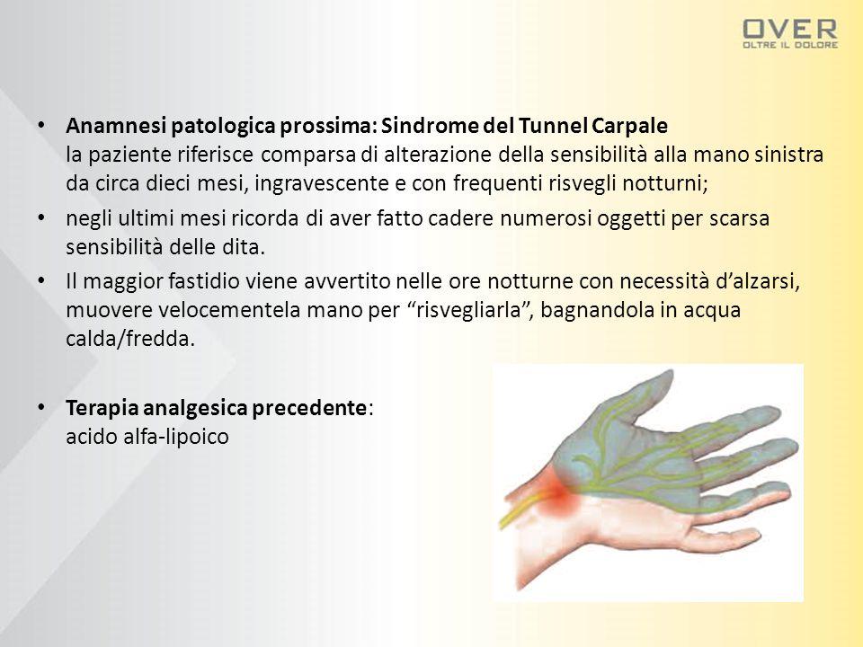 Anamnesi patologica prossima: Sindrome del Tunnel Carpale la paziente riferisce comparsa di alterazione della sensibilità alla mano sinistra da circa