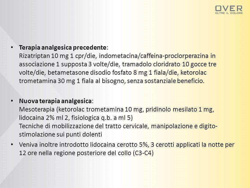Terapia analgesica precedente: Rizatriptan 10 mg 1 cpr/die, indometacina/caffeina-proclorperazina in associazione 1 supposta 3 volte/die, tramadolo cl