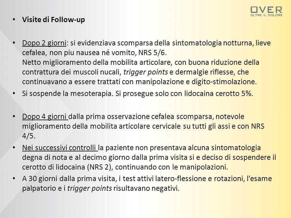 Visite di Follow-up Dopo 2 giorni: si evidenziava scomparsa della sintomatologia notturna, lieve cefalea, non piu nausea né vomito, NRS 5/6. Netto mig