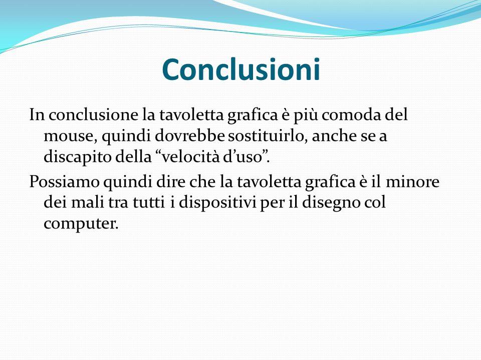 """Conclusioni In conclusione la tavoletta grafica è più comoda del mouse, quindi dovrebbe sostituirlo, anche se a discapito della """"velocità d'uso"""". Poss"""