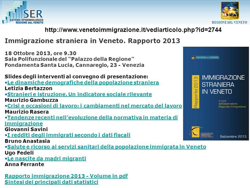 REGIONE DEL VENETO Stato di salute degli immigrati Evidenze disponibili in Italia