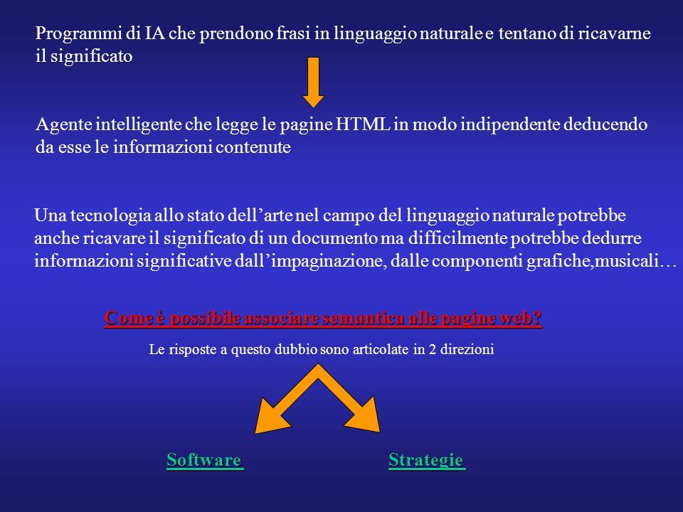 Programmi di IA che prendono frasi in linguaggio naturale e tentano di ricavarne il significato Agente intelligente che legge le pagine HTML in modo i