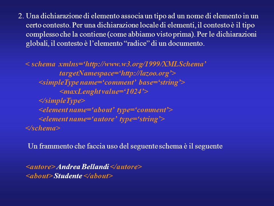 2. Una dichiarazione di elemento associa un tipo ad un nome di elemento in un certo contesto.