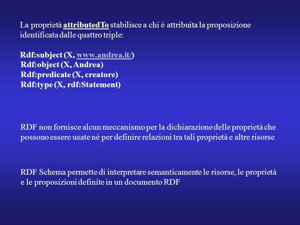 La proprietà attributedTo stabilisce a chi è attribuita la proposizione identificata dalle quattro triple: Rdf:subject (X, www.andrea.it/)www.andrea.it/ Rdf:object (X, Andrea) Rdf:predicate (X, creatore) Rdf:type (X, rdf:Statement) RDF non fornisce alcun meccanismo per la dichiarazione delle proprietà che possono essere usate né per definire relazioni tra tali proprietà e altre risorse RDF Schema permette di interpretare semanticamente le risorse, le proprietà e le proposizioni definite in un documento RDF