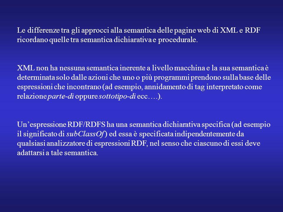 Le differenze tra gli approcci alla semantica delle pagine web di XML e RDF ricordano quelle tra semantica dichiarativa e procedurale. XML non ha ness
