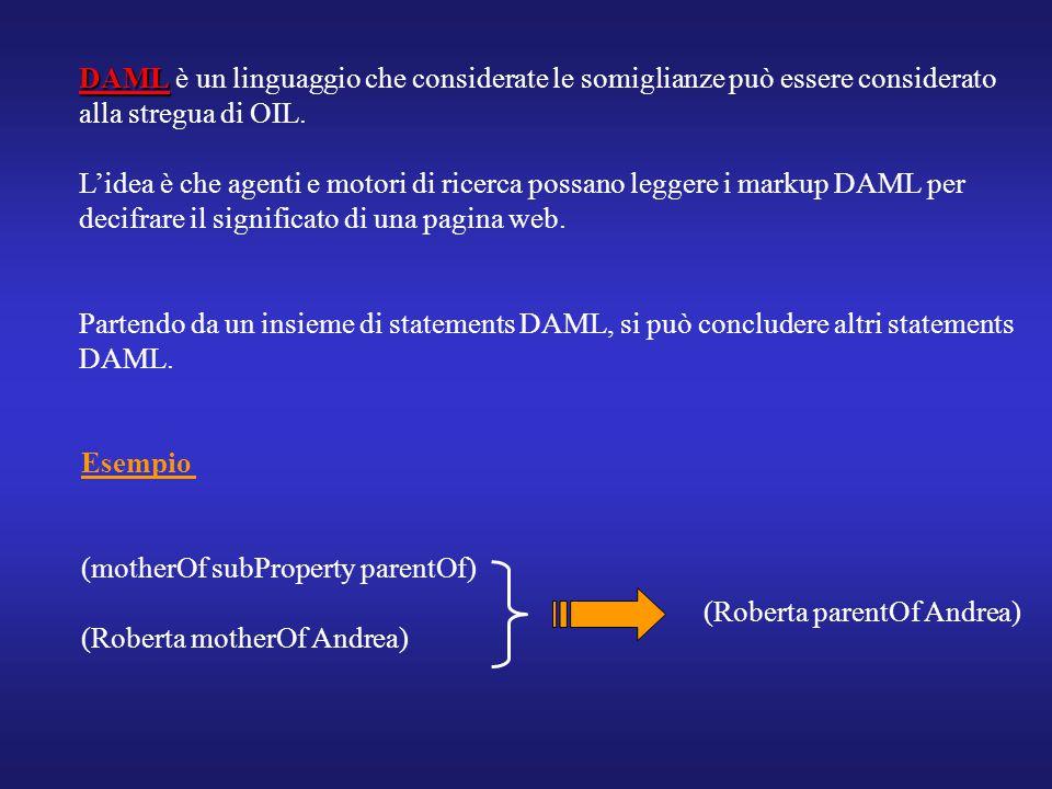 DAML DAML è un linguaggio che considerate le somiglianze può essere considerato alla stregua di OIL. L'idea è che agenti e motori di ricerca possano l