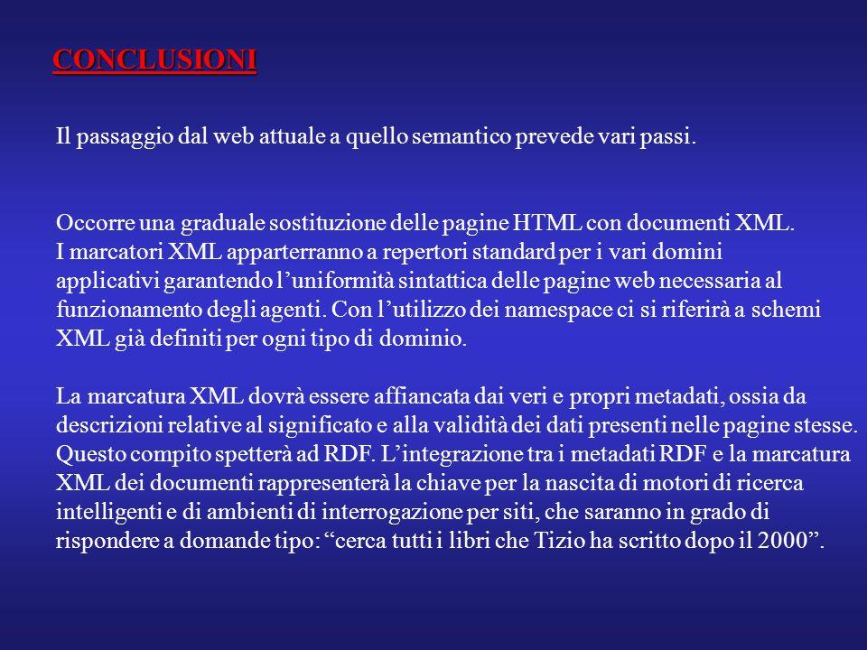 CONCLUSIONI Il passaggio dal web attuale a quello semantico prevede vari passi. Occorre una graduale sostituzione delle pagine HTML con documenti XML.