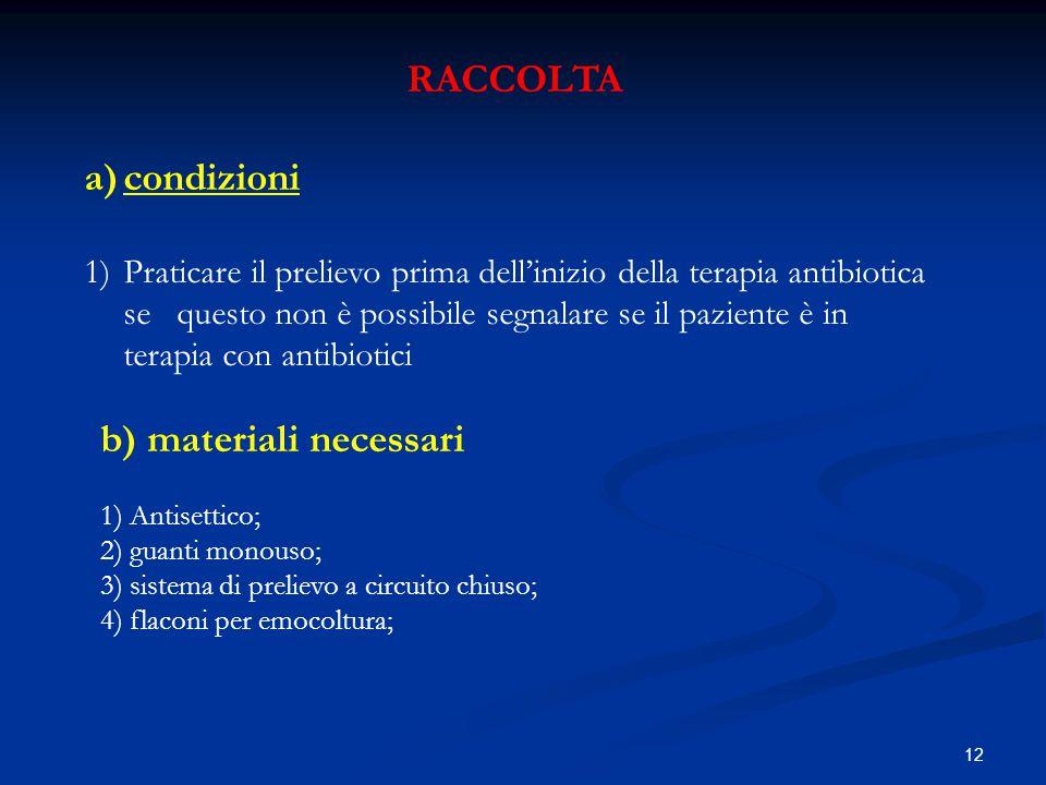 12 RACCOLTA a)condizioni 1)Praticare il prelievo prima dell'inizio della terapia antibiotica se questo non è possibile segnalare se il paziente è in t
