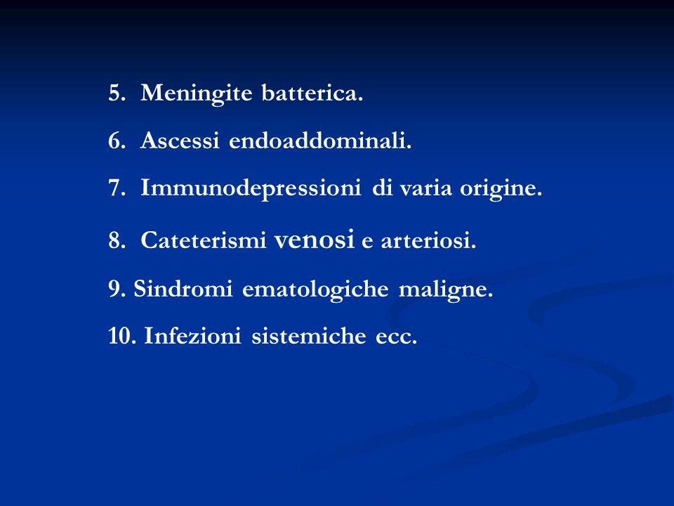 5. Meningite batterica. 6. Ascessi endoaddominali. 7. Immunodepressioni di varia origine. 8. Cateterismi venosi e arteriosi. 9. Sindromi ematologiche