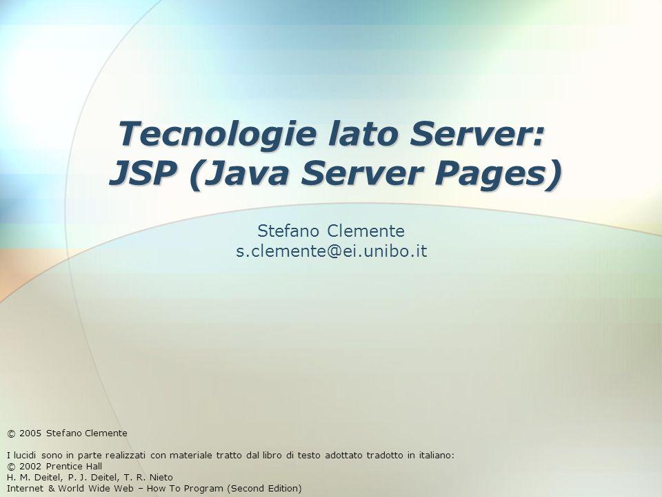 6 Dicembre 2005Stefano Clemente22 <jsp:include> JSP fornisce due tipi di meccanismi di inclusione − Azione Permette che contenuti dinamici siano inclusi in una risorsa Se il contenuto della risorsa inclusa cambia tra due richieste, sarà incluso nella prossima richiesta della JSP contenente l'azione include − Direttiva include Include la risorsa una sola volta, vale a dire nel momento della traduzione della JSP Se la risorsa inclusa cambia, il nuovo contenuto non si riflette nella JSP a meno di ricompilazione di quest'ultima