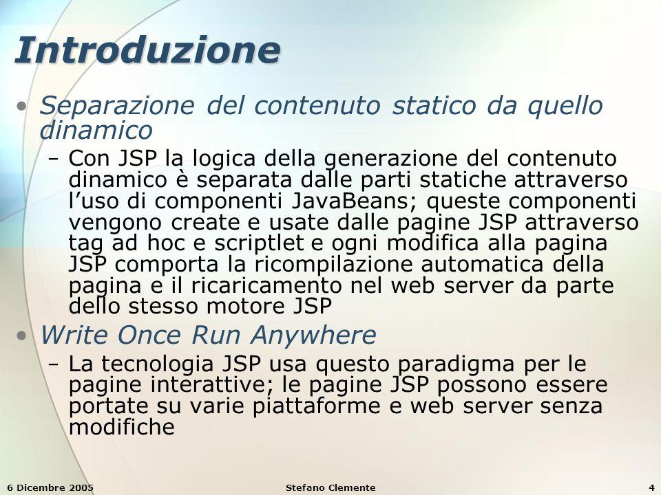 6 Dicembre 2005Stefano Clemente75 Esempio 8: GuestBookLogin.jsp table, tr, td { table, tr, td { font-size:.9em; font-size:.9em; border: 3px groove; border: 3px groove; padding: 5px; padding: 5px; background-color: #dddddd; background-color: #dddddd; } </head><body> <% // start scriptlet <% // start scriptlet if ( guest.getFirstName() == null || if ( guest.getFirstName() == null || guest.getLastName() == null || guest.getLastName() == null || guest.getEmail() == null ) { guest.getEmail() == null ) { %> %> Enter your first name, last name and email Enter your first name, last name and email address to register in our guest book.