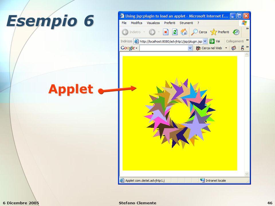 6 Dicembre 2005Stefano Clemente46 Esempio 6 Applet