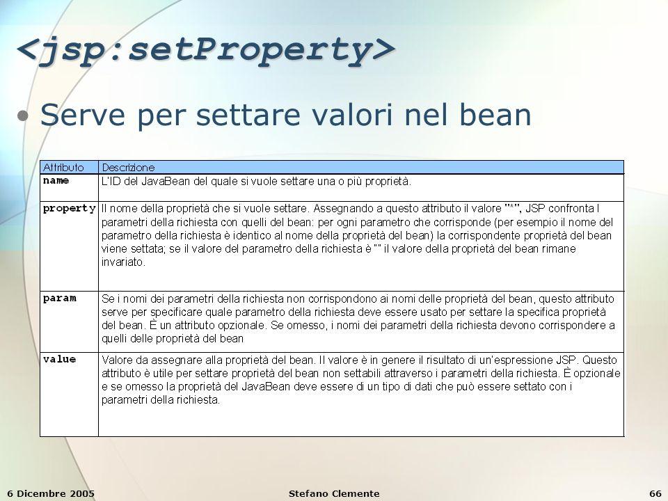 6 Dicembre 2005Stefano Clemente66 <jsp:setProperty> Serve per settare valori nel bean