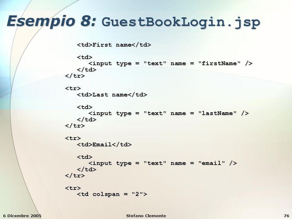 6 Dicembre 2005Stefano Clemente76 Esempio 8: GuestBookLogin.jsp First name First name Last name Last name Email Email