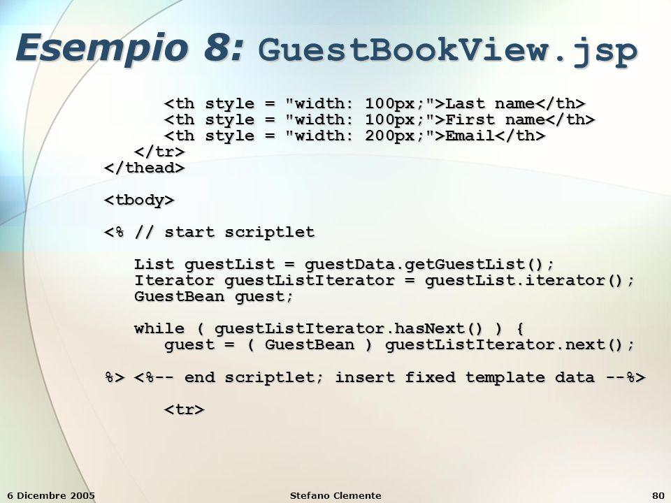 6 Dicembre 2005Stefano Clemente80 Esempio 8: GuestBookView.jsp Last name Last name First name First name Email Email <% // start scriptlet <% // start scriptlet List guestList = guestData.getGuestList(); List guestList = guestData.getGuestList(); Iterator guestListIterator = guestList.iterator(); Iterator guestListIterator = guestList.iterator(); GuestBean guest; GuestBean guest; while ( guestListIterator.hasNext() ) { while ( guestListIterator.hasNext() ) { guest = ( GuestBean ) guestListIterator.next(); guest = ( GuestBean ) guestListIterator.next(); %> %>