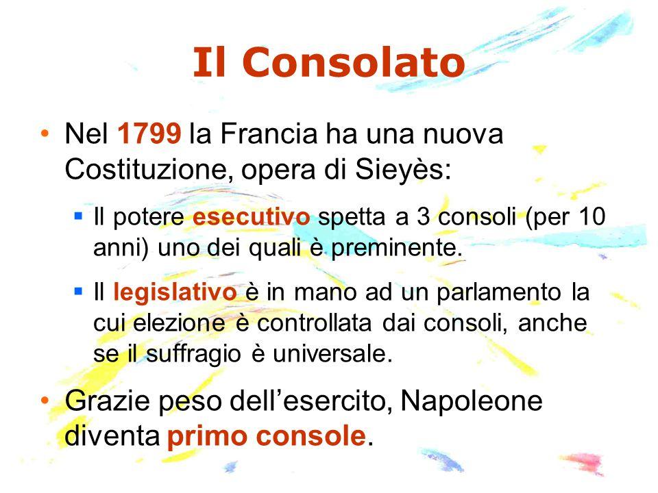 Il Consolato Nel 1799 la Francia ha una nuova Costituzione, opera di Sieyès:  Il potere esecutivo spetta a 3 consoli (per 10 anni) uno dei quali è preminente.