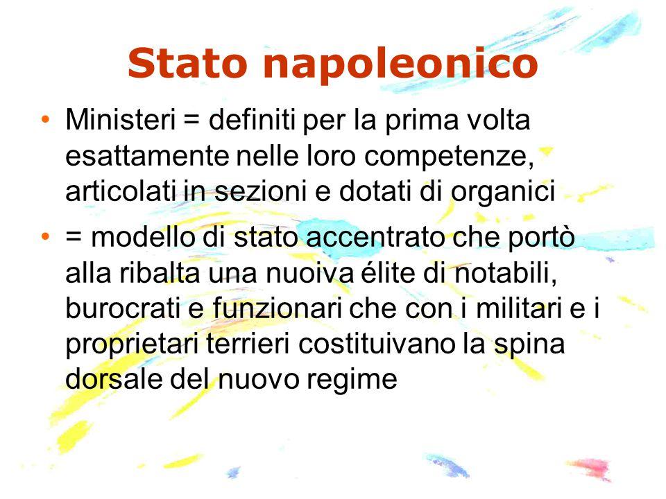 Stato napoleonico Ministeri = definiti per la prima volta esattamente nelle loro competenze, articolati in sezioni e dotati di organici = modello di s