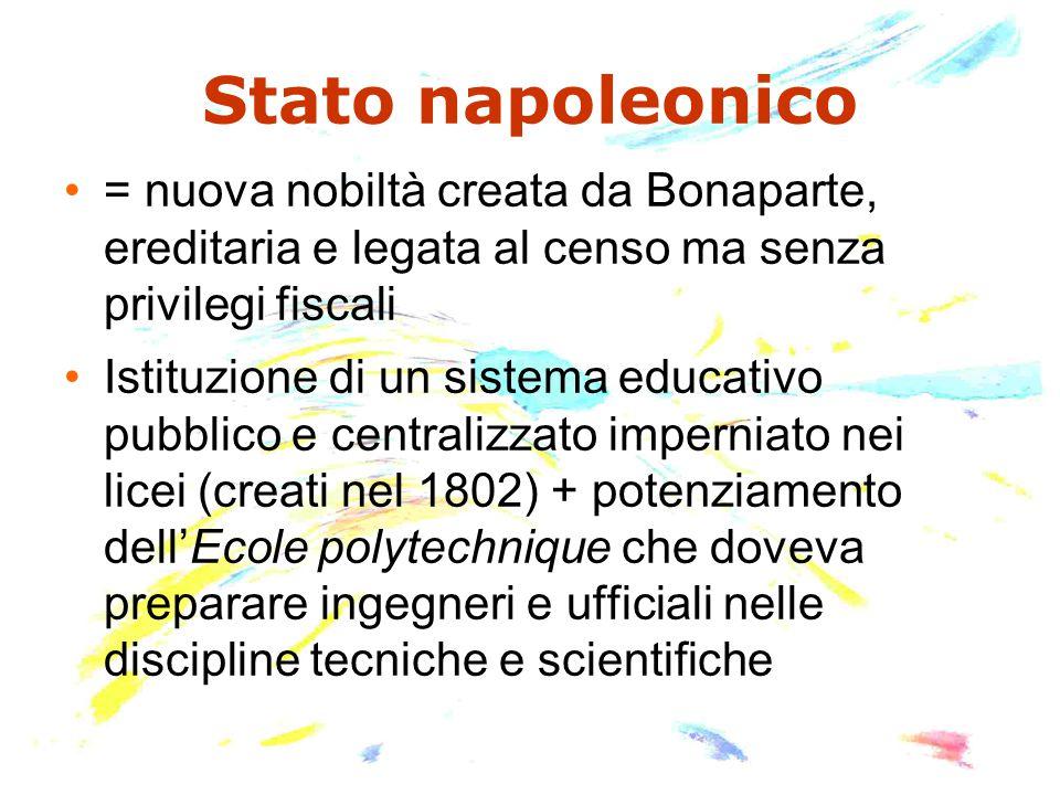 Stato napoleonico = nuova nobiltà creata da Bonaparte, ereditaria e legata al censo ma senza privilegi fiscali Istituzione di un sistema educativo pub