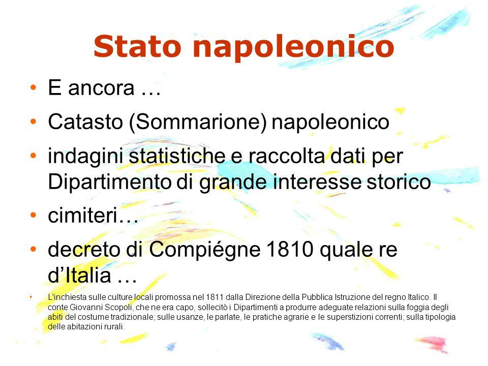 Stato napoleonico E ancora … Catasto (Sommarione) napoleonico indagini statistiche e raccolta dati per Dipartimento di grande interesse storico cimite