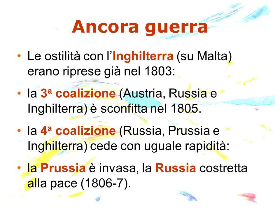 Ancora guerra Le ostilità con l'Inghilterra (su Malta) erano riprese già nel 1803: la 3 a coalizione (Austria, Russia e Inghilterra) è sconfitta nel 1805.