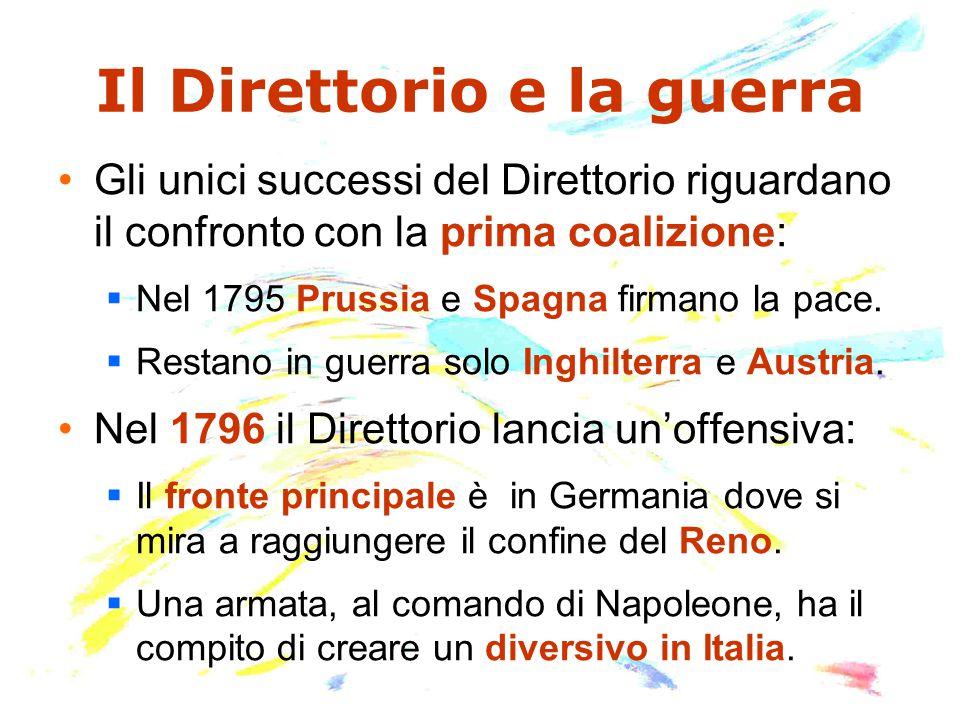Il Direttorio e la guerra Gli unici successi del Direttorio riguardano il confronto con la prima coalizione:  Nel 1795 Prussia e Spagna firmano la pace.