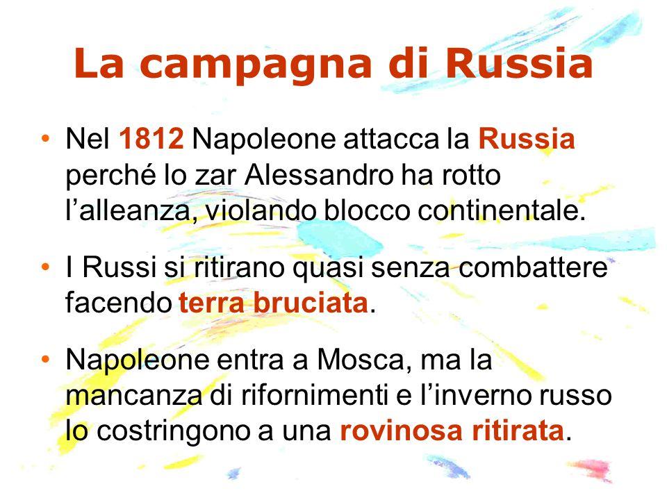 La campagna di Russia Nel 1812 Napoleone attacca la Russia perché lo zar Alessandro ha rotto l'alleanza, violando blocco continentale. I Russi si riti