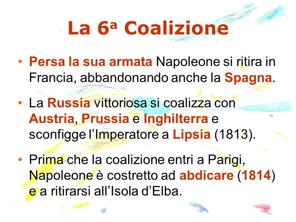 La 6 a Coalizione Persa la sua armata Napoleone si ritira in Francia, abbandonando anche la Spagna.