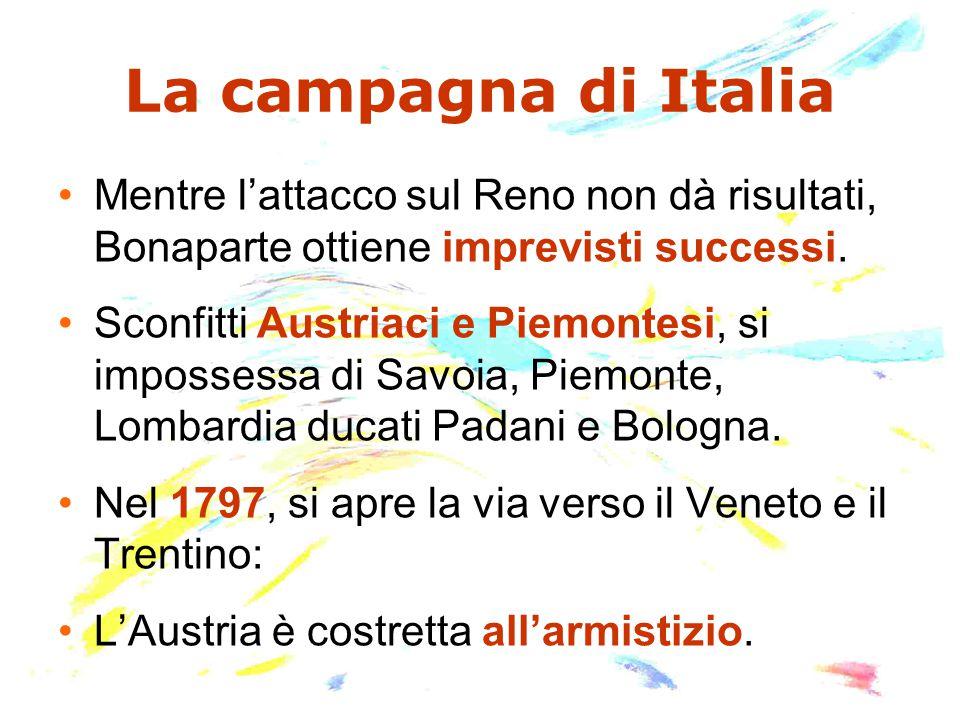 La campagna di Italia Mentre l'attacco sul Reno non dà risultati, Bonaparte ottiene imprevisti successi.