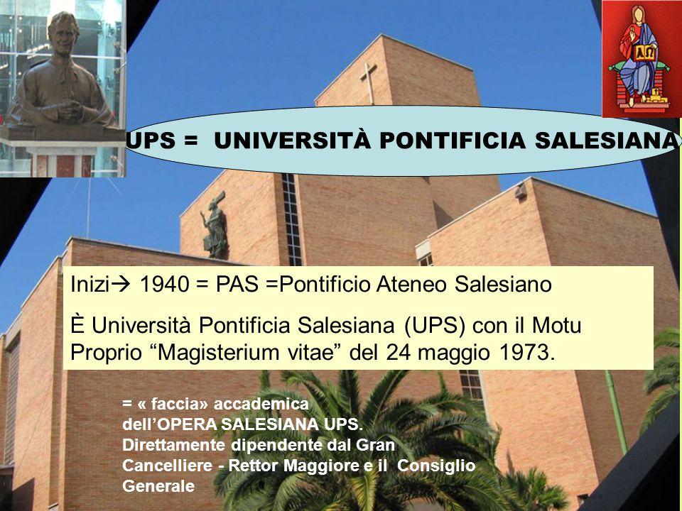 """UPS = UNIVERSITÀ PONTIFICIA SALESIANA Inizi  1940 = PAS =Pontificio Ateneo Salesiano È Università Pontificia Salesiana (UPS) con il Motu Proprio """"Mag"""