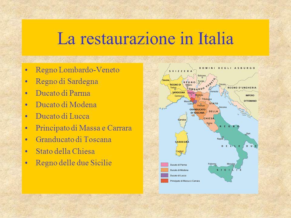 La restaurazione in Italia Regno Lombardo-Veneto Regno di Sardegna Ducato di Parma Ducato di Modena Ducato di Lucca Principato di Massa e Carrara Gran