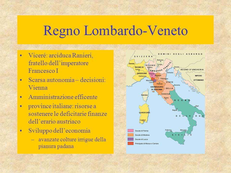 Regno Lombardo-Veneto Viceré: arciduca Ranieri, fratello dell'imperatore Francesco I Scarsa autonomia – decisioni: Vienna Amministrazione efficente pr