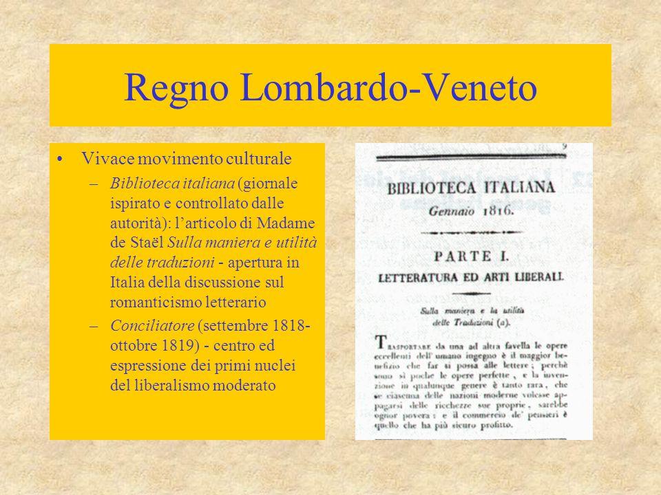 Regno Lombardo-Veneto Vivace movimento culturale –Biblioteca italiana (giornale ispirato e controllato dalle autorità): l'articolo di Madame de Staël