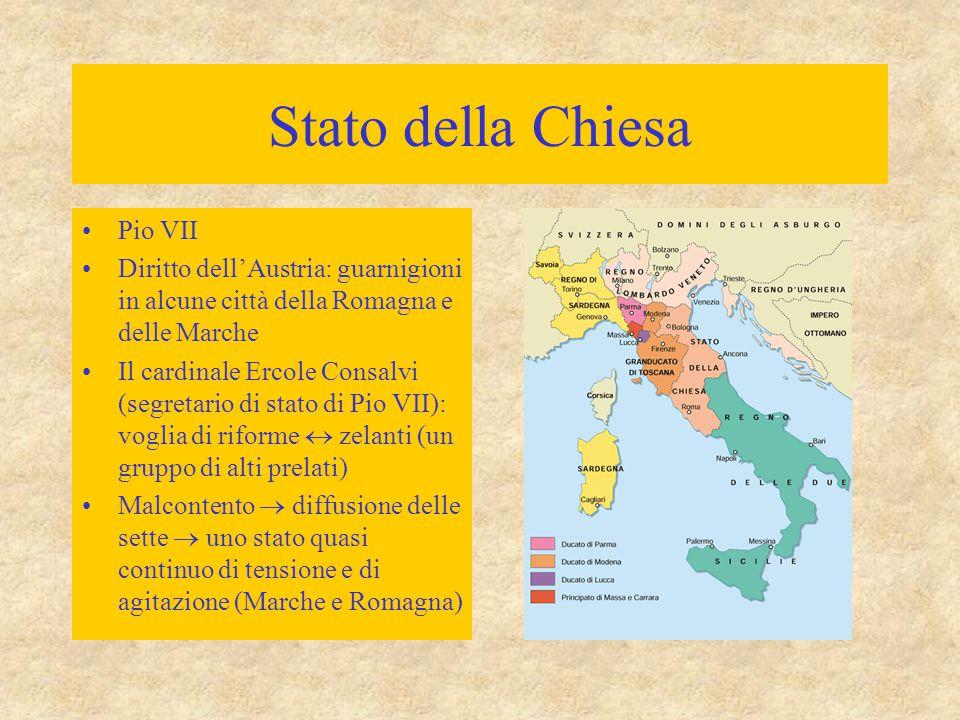 Stato della Chiesa Pio VII Diritto dell'Austria: guarnigioni in alcune città della Romagna e delle Marche Il cardinale Ercole Consalvi (segretario di