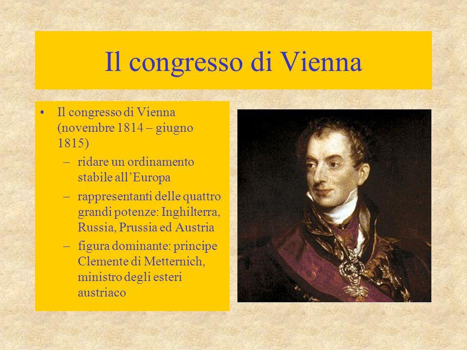 Il congresso di Vienna Il congresso di Vienna (novembre 1814 – giugno 1815) –ridare un ordinamento stabile all'Europa –rappresentanti delle quattro gr
