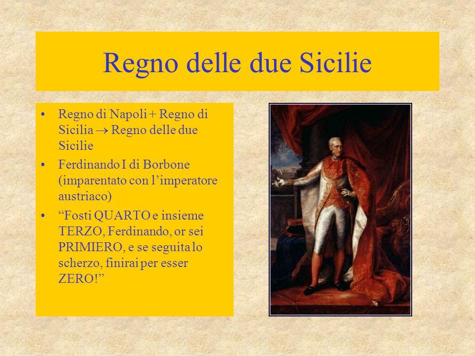 Regno delle due Sicilie Regno di Napoli + Regno di Sicilia  Regno delle due Sicilie Ferdinando I di Borbone (imparentato con l'imperatore austriaco)
