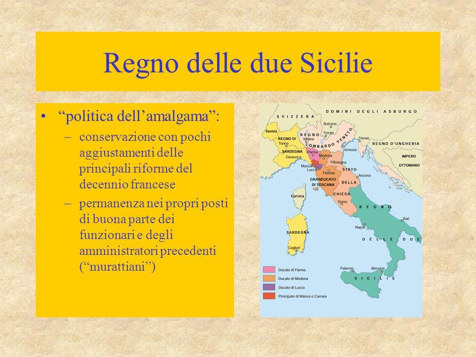 """Regno delle due Sicilie """"politica dell'amalgama"""": –conservazione con pochi aggiustamenti delle principali riforme del decennio francese –permanenza ne"""