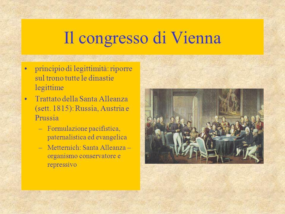 Il congresso di Vienna principio di legittimità: riporre sul trono tutte le dinastie legittime Trattato della Santa Alleanza (sett. 1815): Russia, Aus