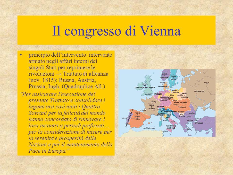 La restaurazione in Italia Consolidamento della posizione egemonica dell'Austria in Italia –possesso diretto delle province lombarde e venete –legami dinastici e politici con i sovrani della penisola