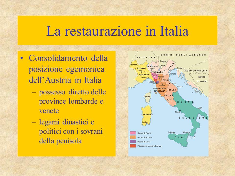 La restaurazione in Italia Consolidamento della posizione egemonica dell'Austria in Italia –possesso diretto delle province lombarde e venete –legami