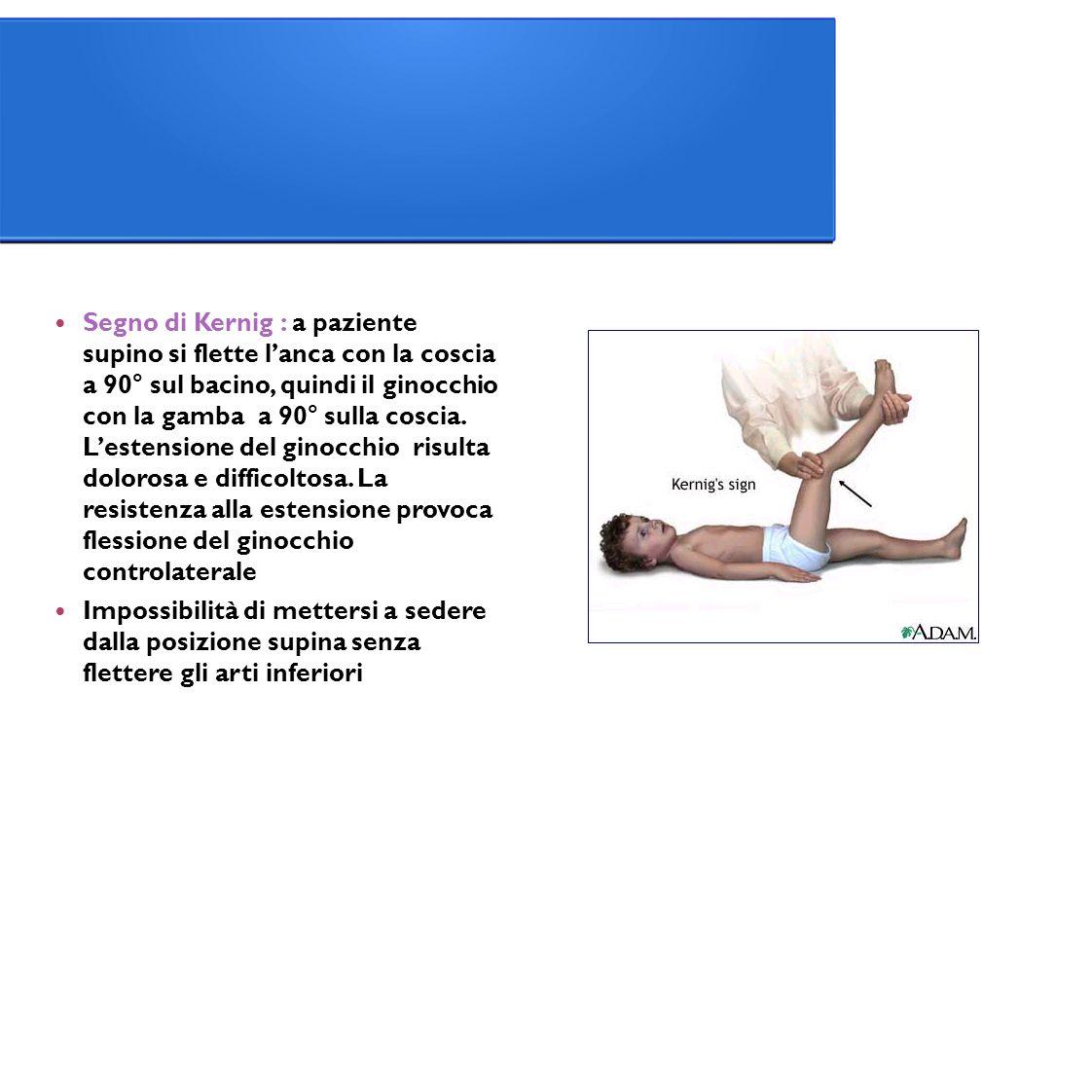 Segno di Kernig : a paziente supino si flette l'anca con la coscia a 90° sul bacino, quindi il ginocchio con la gamba a 90° sulla coscia.