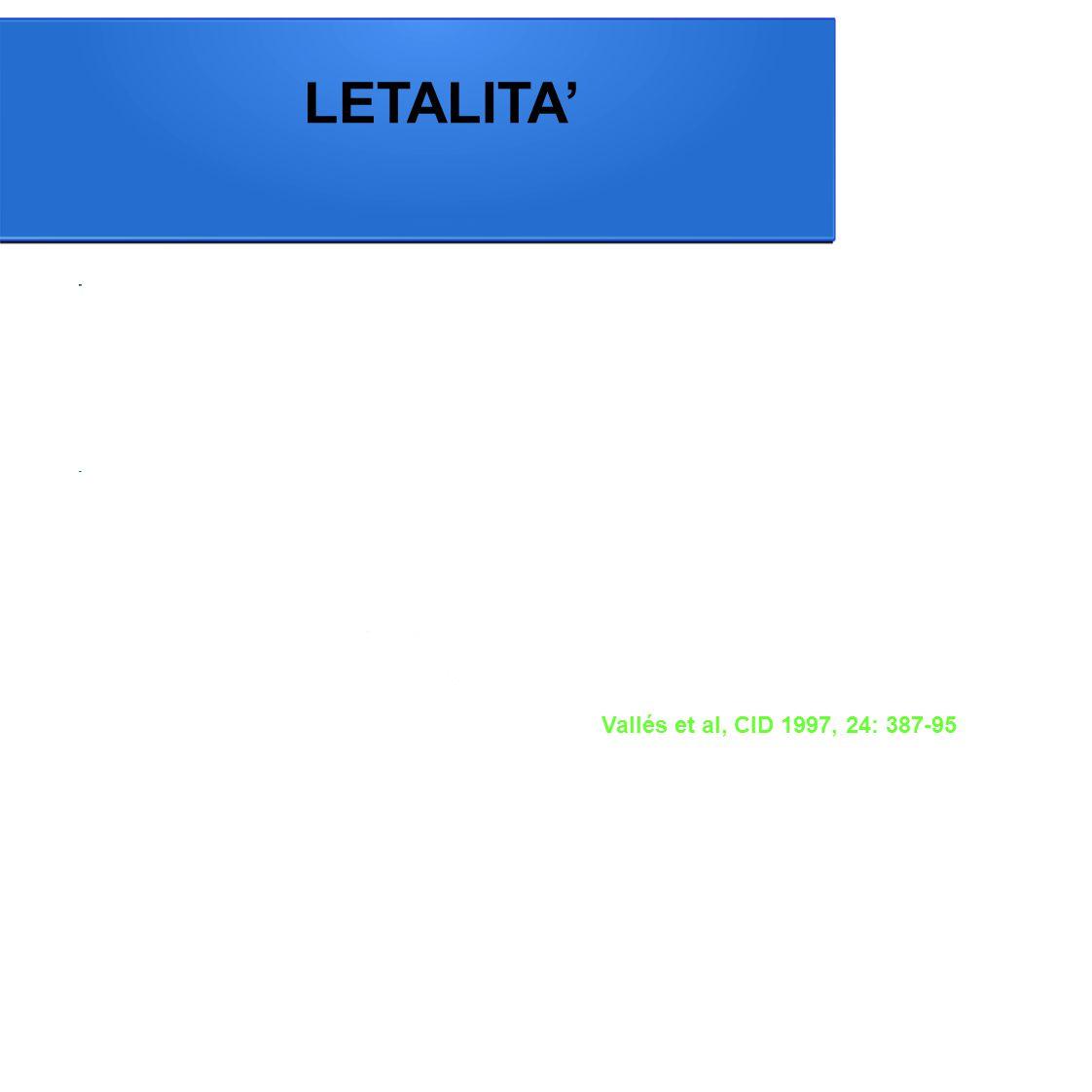 Vallés et al, CID 1997, 24: 387-95 LETALITA'