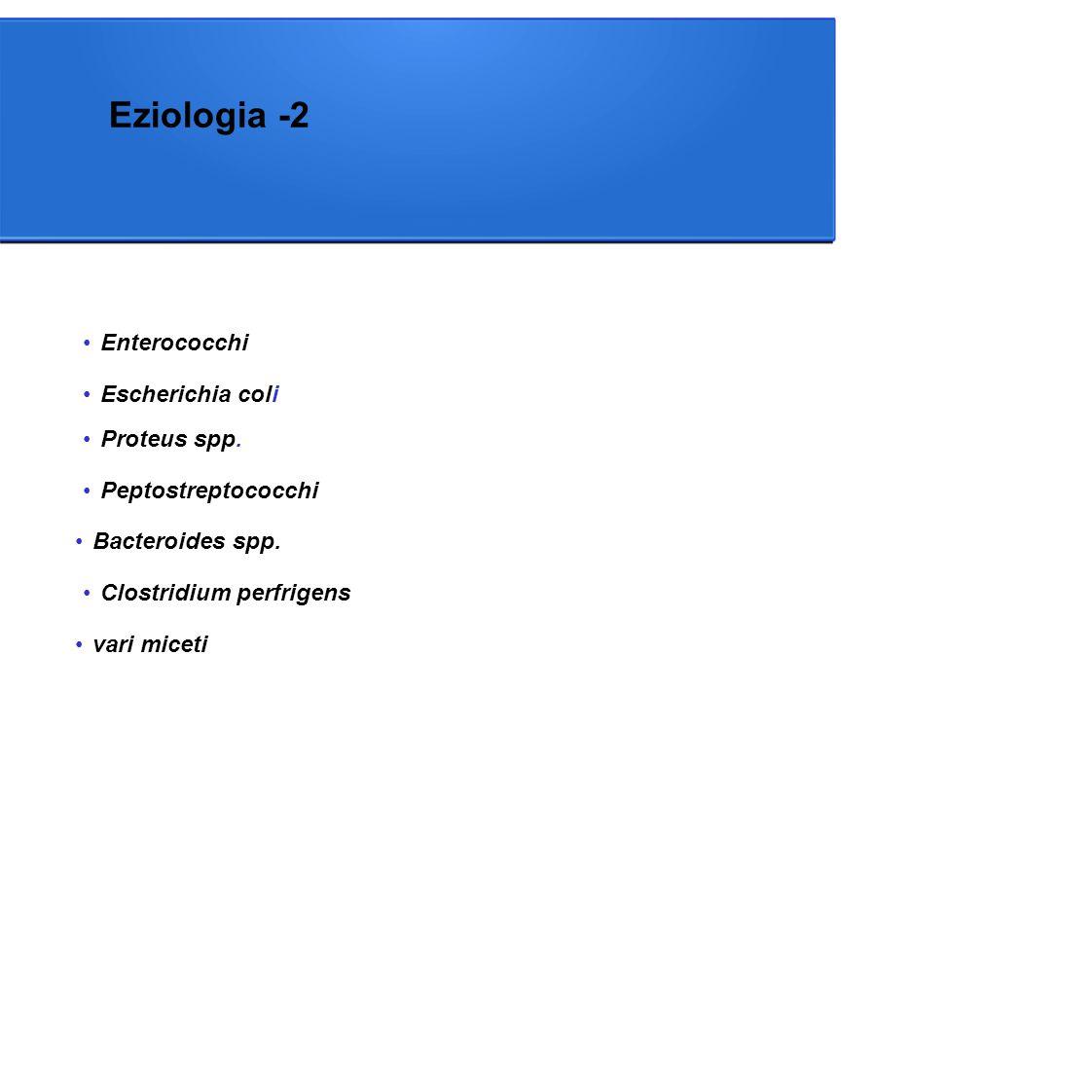 Eziologia -2 Enterococchi Peptostreptococchi Escherichia coli Proteus spp.