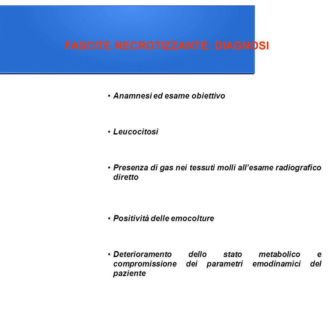 FASCITE NECROTIZZANTE: DIAGNOSI Anamnesi ed esame obiettivo Leucocitosi Presenza di gas nei tessuti molli all'esame radiografico diretto Positività delle emocolture Deterioramento dello stato metabolico e compromissione dei parametri emodinamici del paziente