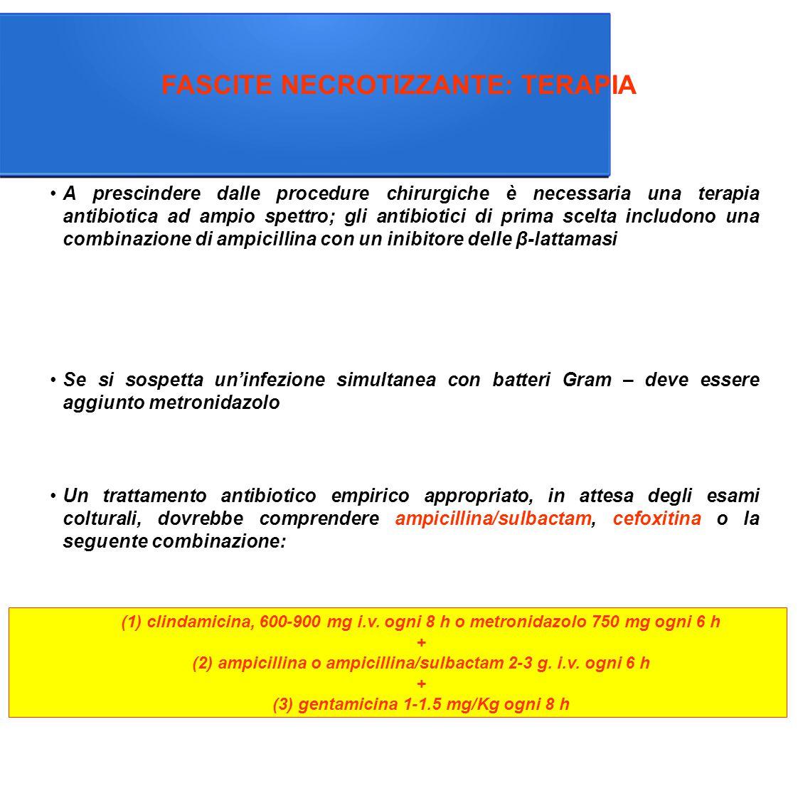 FASCITE NECROTIZZANTE: TERAPIA Un trattamento antibiotico empirico appropriato, in attesa degli esami colturali, dovrebbe comprendere ampicillina/sulbactam, cefoxitina o la seguente combinazione: Se si sospetta un'infezione simultanea con batteri Gram – deve essere aggiunto metronidazolo (1) clindamicina, 600-900 mg i.v.