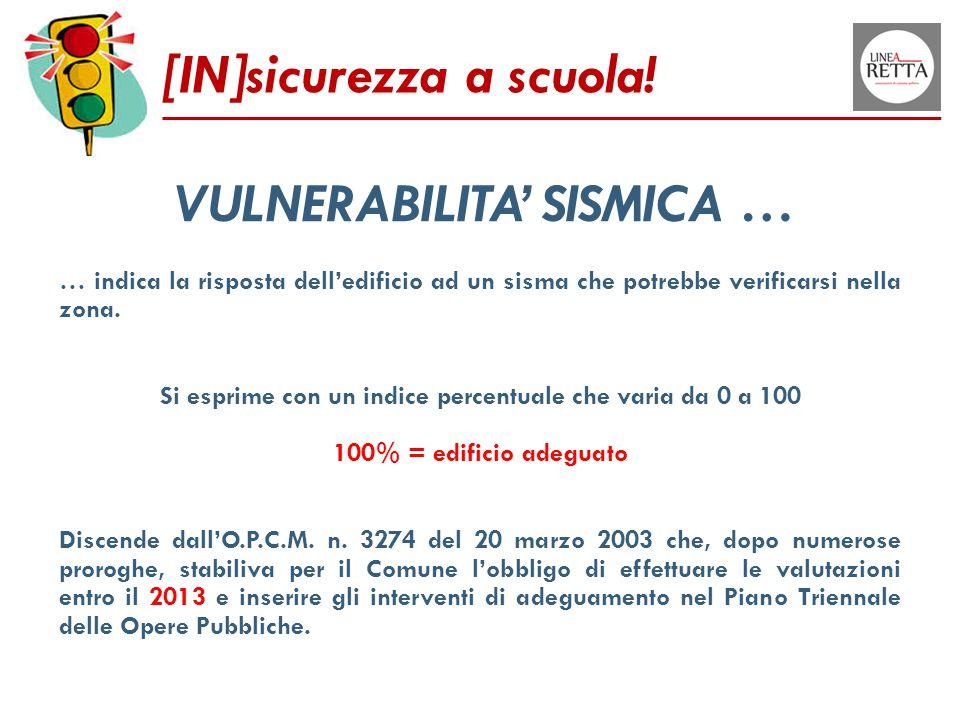 [IN]sicurezza a scuola! VULNERABILITA' SISMICA